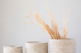 Large Natural Woven Seagrass Baskets with Lid